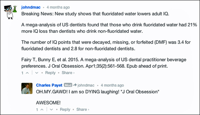 April Fools posting on pro-fluoridation site